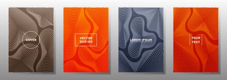 Futuristic covers linear design. Fluid curve shapes geometric lines patterns. Geometric backgrounds for notepads, notice paper covers. Lines texture, header title elements. Annual report covers.