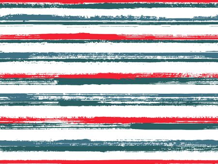 Hand drawn paint stripes fabric print seamless vector. Lines art tablecloth pattern. Hand painted stripes vintage fabric print design. Ink paint lines textured background. Trendy colors design. Ilustrace