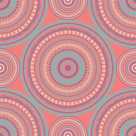 Korean vintage motifs seamless pattern. Round medallion mandala geometric tiles. Textile print template. Clothes, carper or tile pattern. Trendy circular seamless ornament. Henna mandala design.