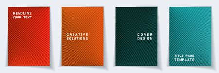 Cover page simple layout vector design set. Halftone lines geometric background patterns. Folder templates.  Scientific gradient title page graphic collectoin.