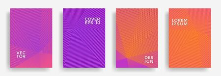 Hexagonal halftone pattern cover pages vector cool design. Hexagon lines texture backdrops. Annual report templates set. Cover page layouts, posters, banners collection. Ilustrace