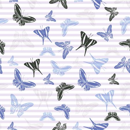 Flying modern butterfly silhouettes over horizontal stripes vector seamless pattern. Baby clothing fabric print design. Lines and butterfly winged insect silhouettes seamless illustration.