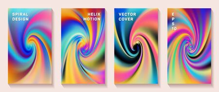 Gradient spiral rotation cover page templates vector set. Abstract brochure front pages collection. Banner backgrounds with fluid colors spiral motion patterns. Snail twirl tech booklet covers.