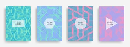 Halftone shapes business catalog covers vector design. Background patterns with halftone triangle, circle, polygon geometric shapes texture. Futuristic banners set. Folders geometric design.