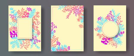 Simple herb twigs, tree branches, leaves floral invitation cards collection. Herbal corners rustic invitation cards with dandelion flowers, fern, lichen, olive branches, sage twigs.