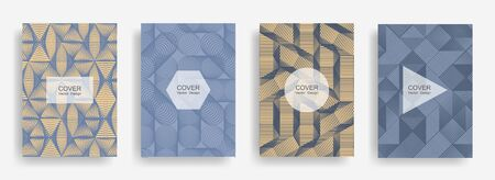 Halftone shapes business booklet covers vector design. Background patterns with halftone triangle, circle, polygon geometric shapes grid. Digital banners set. Corporate brochure covers design.