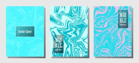 Hipster marble prints, vector cover design templates. Fluid marble stone texture iInteriors fashion magazine backgrounds  Corporate journal patterns set of liquid oil waves. Report covers. Ilustrace