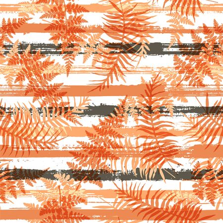 Decorative new zealand fern frond and bracken grass overlaying stripes vector seamless pattern. Bali jungle foliage beach fashion fabric print. Tropical leaves and stripes seamless. Ilustrace