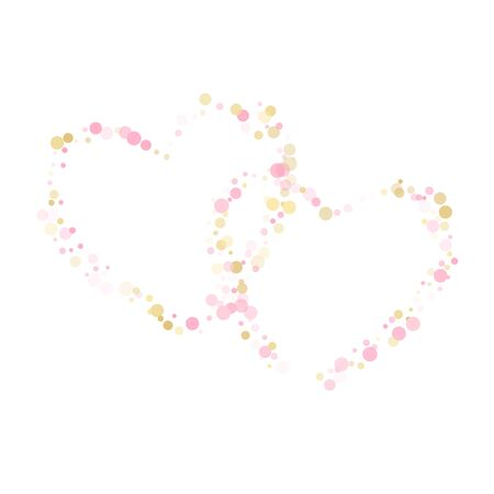 Rose gold confetti circle decoration for Christmas card background. Holiday vector pattern. Gold, pink and rose color round confetti dots, circles chaotic scatter. Beautiful bokeh background.