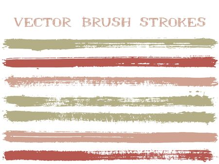 Colorful ink brush strokes isolated design elements. Set of paint lines. Distressed Ink brushe stripes isolated on white, vector colors guide book samples.