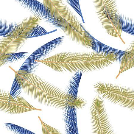 Floral palm tree foliage vector pattern. Chic fashion print. Exotic rainforest palm tree foliage wallpaper ornament.
