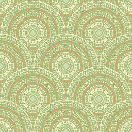Chinese concentric elements carpet design vector seamless pattern. Ethnic motifs intricate line art geometry. Japanese folk mandala shapes seamless geometric motifs pattern. Ilustrace