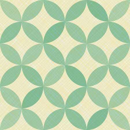Interlacing circles parts creative seamless vector pattern. Guatrefoil flower green medieval endless ornament. Circle elements repeating fabric print. Geometric mosaic motifs.
