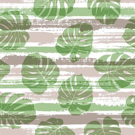 Organic monstera philodendron liana hole leaves over painted stripes seamless pattern design. Brazilian jungle foliage swimwear textile print. Tropical leaves and stripes seamless.