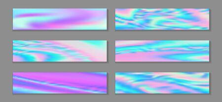 Neon holo trendy banner horizontal fluid gradient princess backgrounds vector set. Romantic hologram texture gradients. Fluid liquid print abstract princess backgrounds.