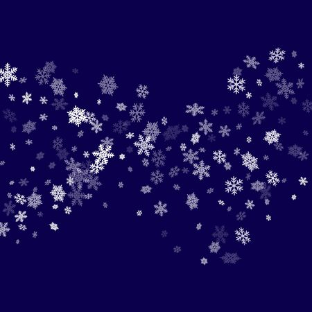 Snow flakes falling macro vector graphics, christmas snowflakes confetti falling scatter card. Winter snow shapes decor. Windy flakes falling and flying winter cold weather vector.