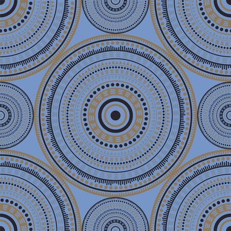 Bohemian ethnic motifs seamless pattern. Circle medallion mandala abstract flowers. Textile print template. Fashion or interior pattern. Floral geometric circular seamless ornament.
