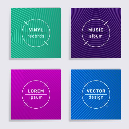 Gradient vinyl records music album covers set. Halftone lines backgrounds. Minimalistic creative vinyl music album covers, disc mockups. DJ records geometric layouts. Posters material design.