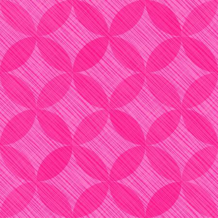 Interlacing circles parts cheerful seamless vector pattern. Guatrefoil flower pink diamond lattice endless ornament. Circle elements repeating fabric print. Geometric mosaic motifs.