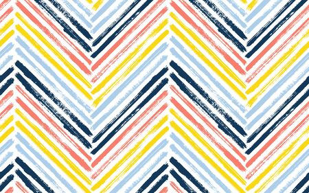 Irregular chevron interior print vector seamless pattern. Paintbrush strokes geometric stripes. Hand drawn paint texture zig zag chevron wallpaper. Stripes lines textile print seamless design.