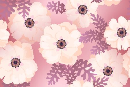 Pale pink peonies background vector seamless pattern. Romantic garden flowers illustration. Faded colors. Cute spring summer peony flowers seamless pattern. Fabric print design