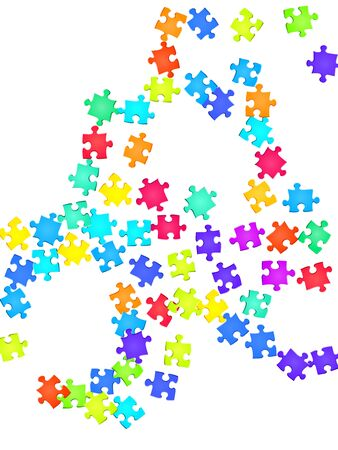 Abstract tickler jigsaw puzzle rainbow colors pieces vector background. Top view of puzzle pieces isolated on white. Strategy abstract concept. Connection elements.