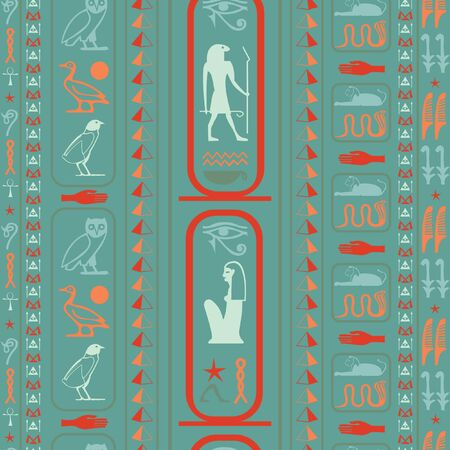 Colorful egyptian motifs seamless pattern. Ethnic hieroglyph symbols template. Repeating ethnical fashion background for wallpaper.