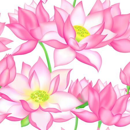 Pink lotus flowers vector seamless pattern illustration. Fresh pink lotuses buds, flowers and leaves. Blossom vector pattern for natural cosmetics, health care and products, yoga center design. Ilustração
