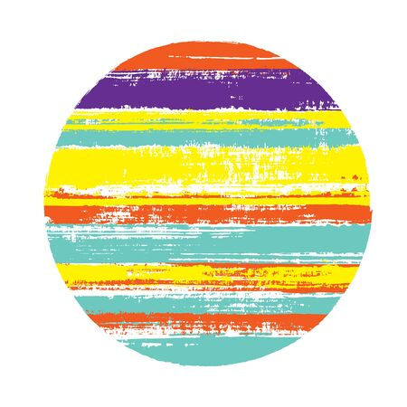 Modern circle vector geometric shape with stripes texture of paint horizontal lines. Disc banner with old paint texture. Emblem round shape logotype circle with grunge stripes background.