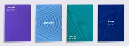Trendy cover templates set. Radial semicircle geometric lines patterns. Modern backgrounds for catalogues, business magazine. Line shapes patterns, header elements. Cover page templates.