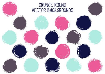 Vector grunge circles isolated. Hipster stamp texture circle scratched label backgrounds. Circular icon, badge shape, round button elements. Grunge round shape banner backgrounds set.