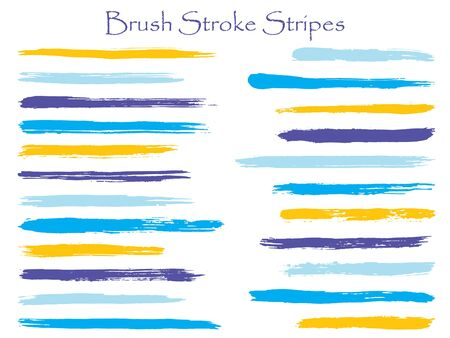 Minimalist cyan ink brush stroke stripes vector set, horizontal marker or paintbrush lines patch. Hand drawn watercolor paint brushes, smudge strokes collection. Interior colors scheme swatches.