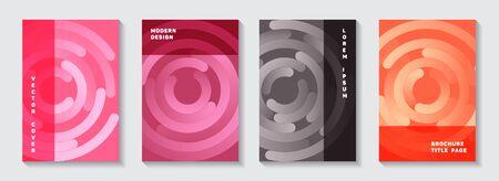 Corporate portfolio title pages set. Flat poster circles swirl vector backgrounds. Aim goal achievement circles concept. Simple notebook covers templates. Ilustrace