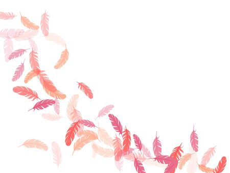 Fashoinable pink flamingo feathers vector background. Flying feather elements airy vector design. Angel wing plumage concept. Lightweigt plumelet windy floating pattern.