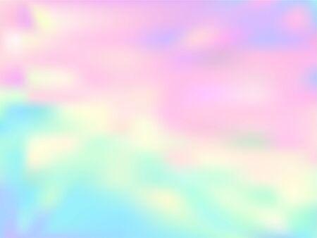 Fond de dégradé fluide en papier holographique néon. Fond de licorne arc-en-ciel électro pastel. Fond de couleurs liquides de lumières polaires. Papier d'emballage vectoriel holographique éclaboussure floue translucide. Vecteurs
