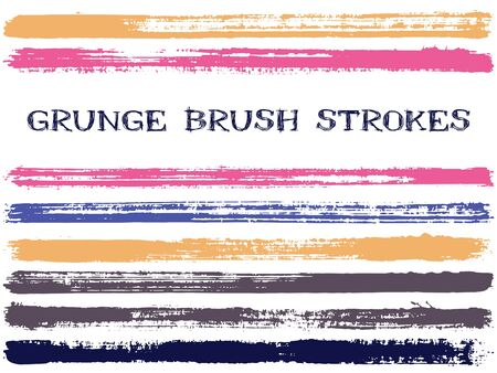 Pink grey ink brush strokes isolated design elements. Set of paint lines. Cool stripes, textured paintbrush stroke shapes. Collection of ink brushes, stripes isolated on white, vector paint samples.