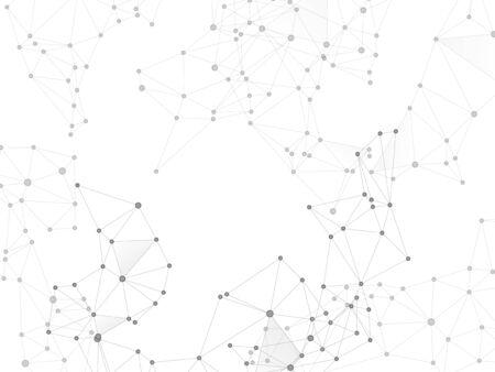 Big data cloud scientific concept. Network nodes greyscale plexus background. Tech vector big data visualization cloud structure. Nodes and lines polygonal connections. Virtual reality polygin design. Ilustrace
