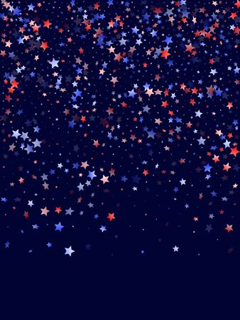 American Presidents Day stars background. Confetti in USA flag colors for Independence Day.  Cool red blue white stars on dark American patriotic vector. 4th of July stardust scatter.