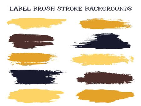 Artistic label brush stroke backgrounds, paint or ink smudges vector for tags and stamps design. Painted label backgrounds patch. Interior colors guide book samples. Ink dabs, gold black splashes. Illustration