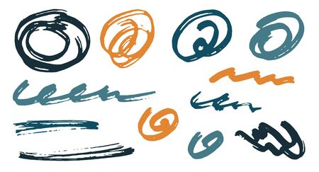 Simple scribble doodle graphic design vector elements.  Draft marker traces. Ink brush strokes, round swirls, wavy lines. Scribble scratches, sketch doodle smears. Graffiti freehand drawings. Illustration