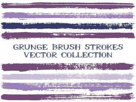 Long ink brush strokes isolated design elements. Set of paint lines. Advertising stripes, textured paintbrush stroke shapes. Ink brush stripes isolated on white, vector wall paint samples set.