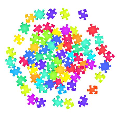Game teaser jigsaw puzzle rainbow colors pieces vector background. Scatter of puzzle pieces isolated on white. Teamwork abstract concept. Jigsaw gradient plugins.