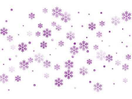 Crystal snowflake and circle elements vector backdrop. Modern winter snow confetti scatter flyer background. Flying colorful gradient snow flakes background, trendy water crystals vector. Иллюстрация