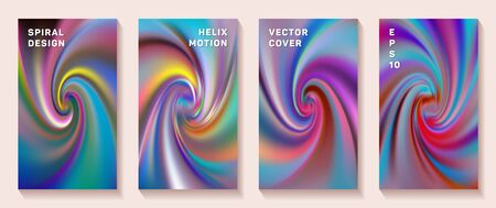 Gradient spiral rotation cover page templates vector set. Creative brochure front pages collection. Flyer backgrounds with fluid colors dynamic helix patterns. Vortex spin tech booklet covers.