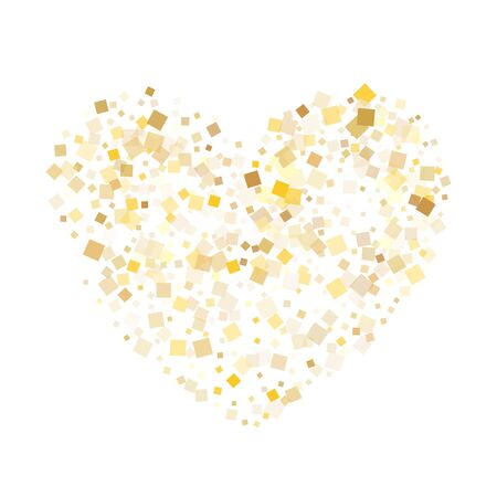 Metalic gold square confetti tinsels scatter on white. Rich Christmas vector sequins background. Gold foil confetti party elements texture. Rhombus sparkles party background. Ilustrace