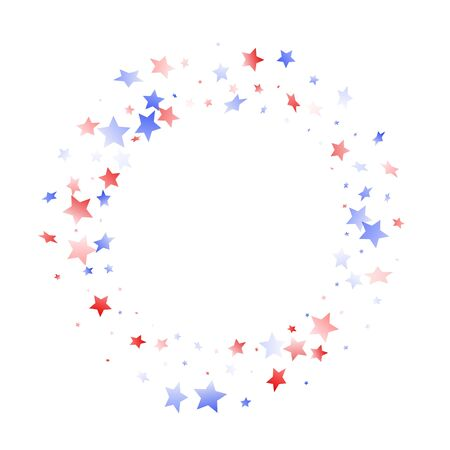 American Memorial Day stars background. Holiday confetti in US flag colors for Patriot Day. Vivid red blue white stars on white American patriotic vector. July 4th stardust elements.