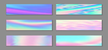 Hologram magic banner horizontal fluid gradient princess backgrounds vector collection. Pearlecent neon holo texture gradients. Fluid liquid print abstract princess backgrounds.