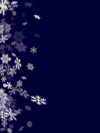 Winter snowflakes border cool vector background.  Macro snow flakes flying border illustration, card or banner with flakes confetti scatter frame, snow elements. Frosty cold season symbols.