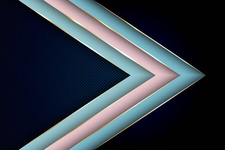 Polygonal arrow with gold triangle edge lines banner vector design. VIP banner background template. Poly gradient shapes with metallic glossy edge lines. Trendy tech vector graphics. Çizim