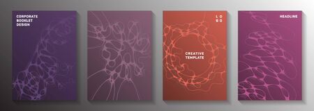 Cyberspace concept abstract vector covers. Liquid waves geometry backdrops. Creative notebook vector templates. Science fiction cover pages graphic design set.  イラスト・ベクター素材